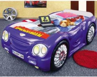 Pat masina Sleep Car Albastru Patut bebe,tarcuri si saltele