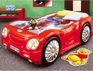 Pat masina Sleep Car Rosu Patut bebe,tarcuri si saltele