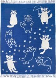 Patura lana Vladi CATS 140 x 200 cm Albastru Cuverturi & Paturi