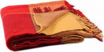 Patura lana Vladi Elf, 200x220 cm, Design 1.7, Galben-Rosu Cuverturi & Paturi