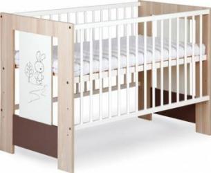 Patut Copii Din Lemn KLUPS LITTLE BUNNY Capuccino Patut bebe,tarcuri si saltele