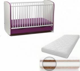 Patut din lemn cu sertar si leganare Purple + Saltea 10 cm Patut bebe,tarcuri si saltele