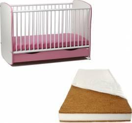 Patut din lemn cu sertar si leganare Roz + Saltea 12 cm Patut bebe,tarcuri si saltele