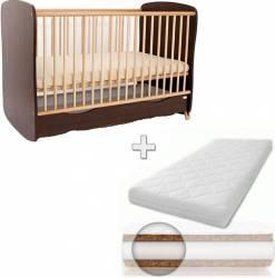Patut din lemn cu sertar si leganare Wenge + Saltea 10 cm Patut bebe,tarcuri si saltele