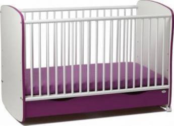 Patut din lemn cu sertar si sistem de leganare Purple Patut bebe,tarcuri si saltele
