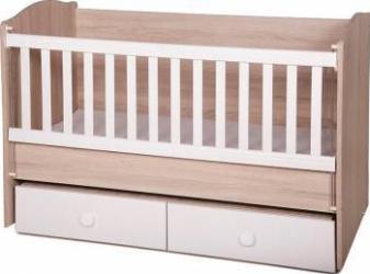 Patut din lemn cu sertar si sistem de leganare Tony Oak White Patut bebe,tarcuri si saltele
