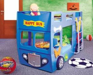 Patut in forma de masina Happy Bus Albastru Patut bebe,tarcuri si saltele