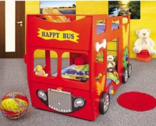 Patut in forma de masina Happy Bus Rosu Patut bebe,tarcuri si saltele