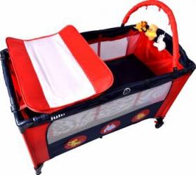 Patut pliant 2 nivele Juju Sleepy Baby Rosu-Bleumarin Patut bebe,tarcuri si saltele