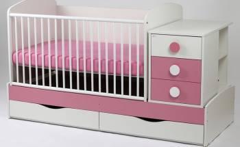 Patut Transformabil MYKIDS Silence Alb-Roz Cu Leg 4059 Patut bebe,tarcuri si saltele