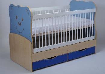 Patut Transformabil MYKIDS Teddy Natur-Albastru Cu Leg 3610 Patut bebe,tarcuri si saltele