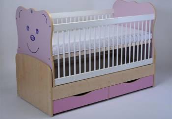 Patut Transformabil MYKIDS Teddy Natur-Roz Cu Leg 3611 Patut bebe,tarcuri si saltele