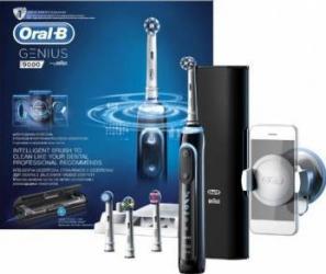 Periuta de dinti electrica Oral-B Genius 9000, SmartRing, 6 programe, 4 capete, Conectivitate Bluetooth, Trusa de calato Periute electrice si irigatoare