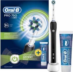 Periuta Electrica Oral B Pro 750 Acumulator Negru + Pasta De Dinti Oral B Pro Expert