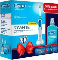 Periuta electrica Oral B Vitality D12-513W+Blend-a-Med Pro-Expert 100ml+Apa de gura Pro-Expert 250ml Periute electrice si irigatoare