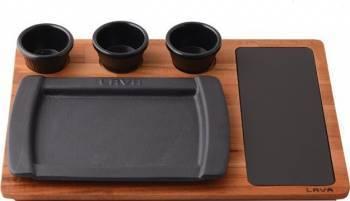 Platou servire cu suport din lemn - LAVA Articole pentru servit