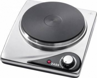 Plita electrica din inox Zass putere 1500W 1 disc din fonta cu diametru 185mm Picioare anti-alunecare Inox Plite