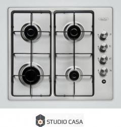 Plita incorporabila Studio Casa Milano PG 60 Gaz 4 Arzatoare Aprindere electrica Inox Plite Incorporabile