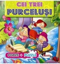 Poveste + Puzzle Cei trei purcelusi