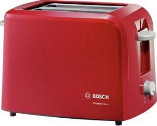 Prajitor de paine Bosch TAT3A014 980W 2 felii Oprire automata Rosu