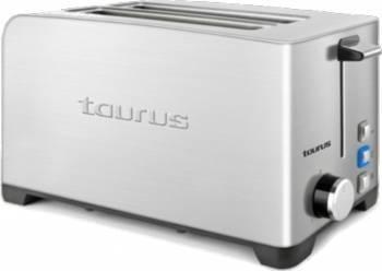 Prajitor de paine Taurus 1400W 4 felii 2 fante lungi 3 functii Inox Prajitoare