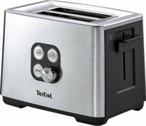 Prajitor de paine Tefal Cube 2S 900W Functie de dezghetare si reincalzire 7 niveluri Inox/Negru Prajitoare
