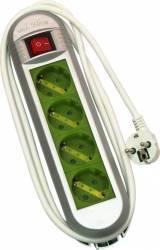 Prelungitor Bricolux Color 4 prize Schuko 1.5m Alb Verde