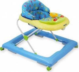 Premergator copii cu roti din silicon Baby Mix BG-1601 Blue Cream Balansoare, premergatoare, centre activi