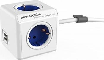 Priza 2 x USB Allocacoc Power Cube Extended Blue Prize