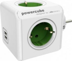 Priza 2 x USB Allocacoc Power Cube Original Green