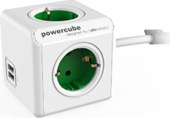 Priza 2xUSB Allocacoc Power Cube Extended Green Prize