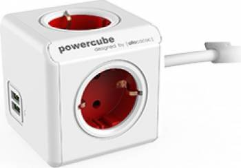 Priza 2xUSB Allocacoc Power Cube Extended Red Prize