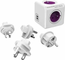 Priza calatorie PowerCube Allocacoc 1810 USB + 4 adaptoare Alb Prize