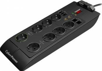 Priza cu protectie CyberPower SB0801PRG-B-FR USB