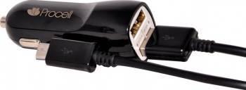 Incarcator Auto Procell 2.1A Dual USB Negru cu cablu MicroUSB Incarcatoare Auto