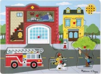 Puzzle cu sunete Brigada de pompieri Melissa and Doug Puzzle si Lego