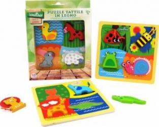 Puzzle din lemn cu animale 4 piese cu material textil