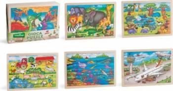 Puzzle din lemn pentru copii cu animale 48 piese