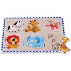 Puzzle din lemn Animale Salbatice - Sun Baby Jucarii si Jocuri