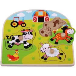 Puzzle din lemn Ferma Animale Domestice - Sun Baby Jucarii si Jocuri
