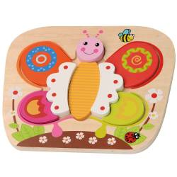 Puzzle din lemn Fluture - Sun Baby Jucarii si Jocuri