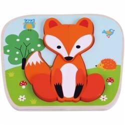 Puzzle din lemn Vulpe - Sun Baby Jucarii si Jocuri