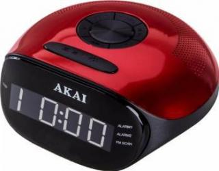 Radio cu ceas Akai radio FM si AM dual alarm Bluetooth si mufa auxiliar Negru-Rosu Ceasuri si Radio cu ceas