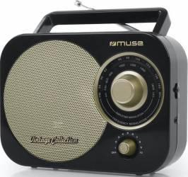 Radio portabil Muse M-055 RG Vintage FMMW Boxa frontala Negru Ceasuri si Radio cu ceas
