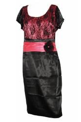 Rochie cu dantela marimea 48 culoarea rosu cu negru Rochii dama