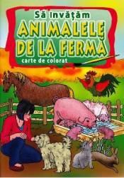Sa invatam animalele de la ferma - Carte de colorat