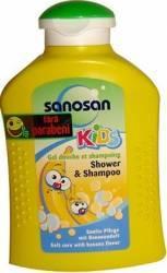 Sampon pentru copii Sanosan Shower and Shampoo Banana Cadite, prosoape si accesorii baie