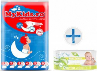 Scutece Copii MyKids New Junior 5 12-25kg 50 buc Cadou Servetele Umede Doctor Wipes Aloe fara capac