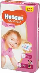 Scutece Huggies Ultra Confort Giga Pack 4+ Girl 10-16 kg 68 buc scutece si servetele