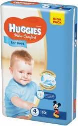 Scutece Huggies Ultra Confort Giga Pack (4), Boy, 8-14 kg, 80 buc Scutece si servetele